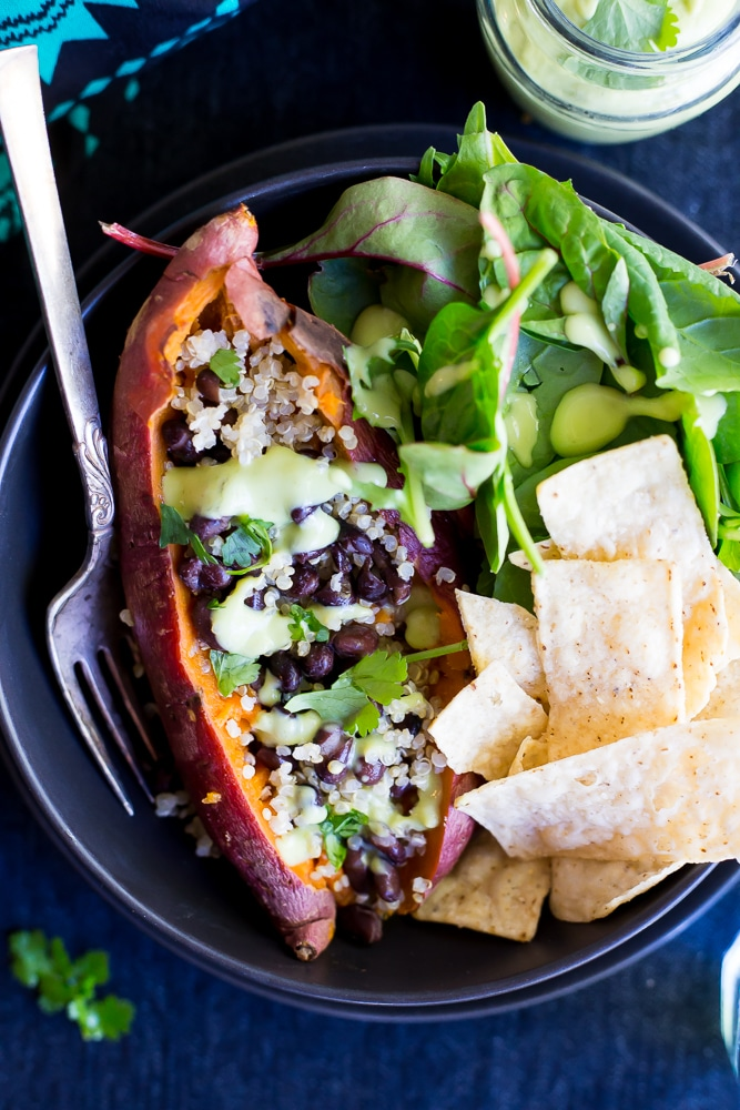 These Make Ahead Sweet Potato Lunch Bowls are a really easy and healthy lunch recipe!  You can make them ahead and enjoy them for lunch all week!  Naturally gluten free and vegan!