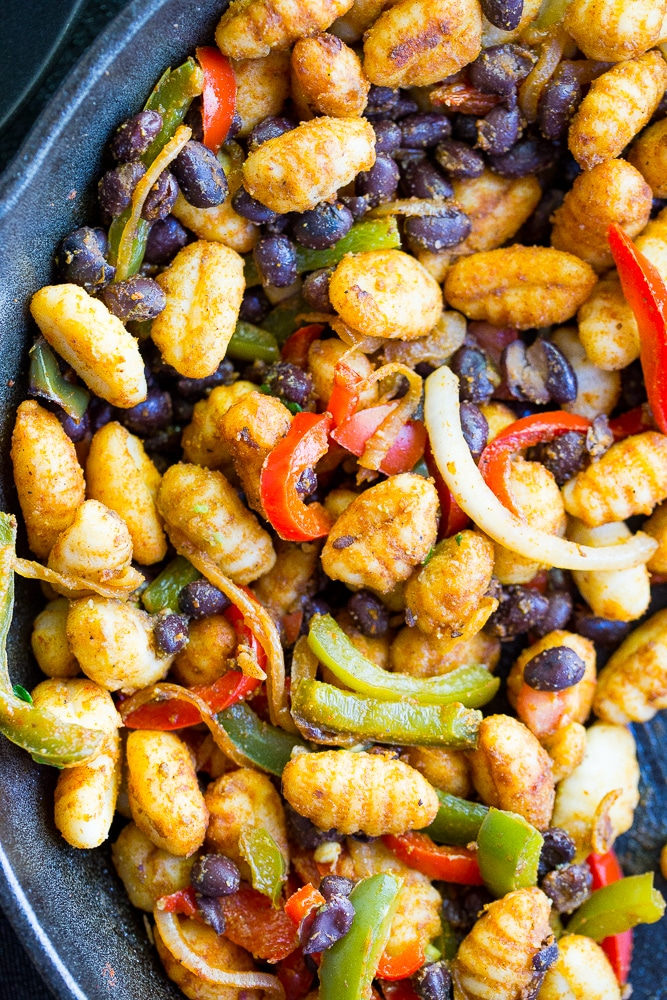 Fajita Gnocchi Skillet with Avocado Salsa - You only need 30 minutes and one pot to make this delicious quick and easy vegetarian dinner!