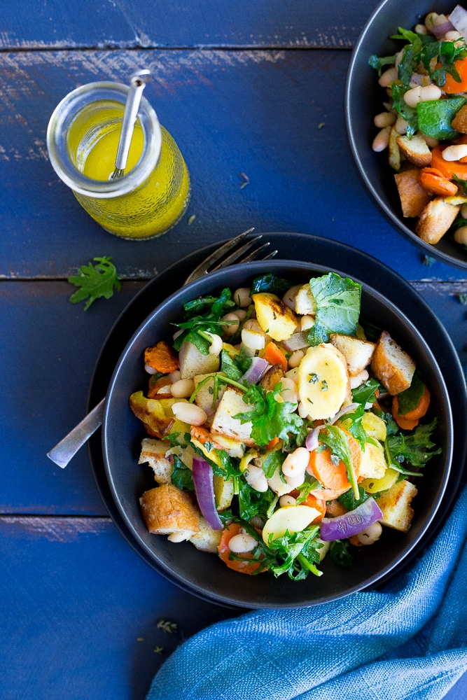 Winter Panzanella Salad with Roasted Vegetables - This salad is fresh ...