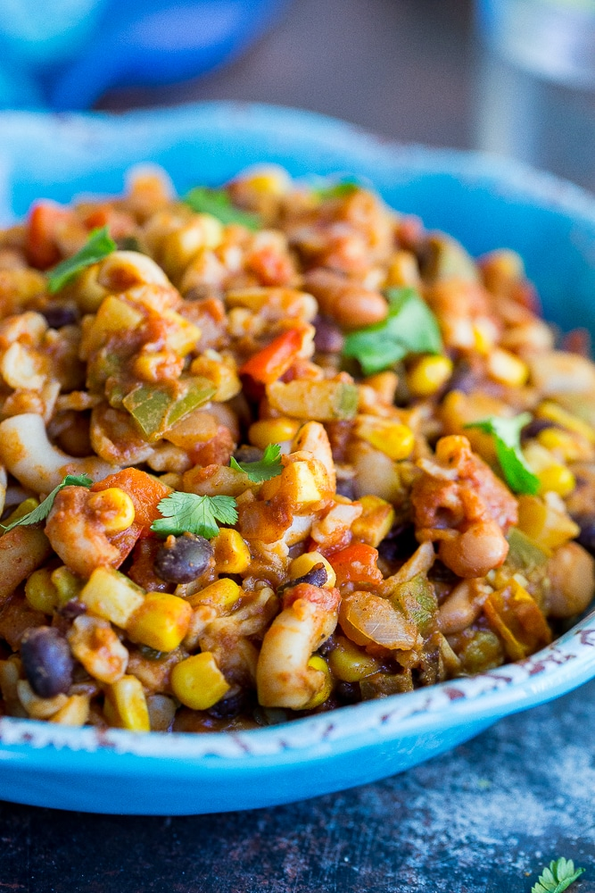 This One Pot Loaded Vegetarian Chili Mac is so easy to make and it's also really healthy!  Perfect for a quick weeknight dinner!  It's also vegan and gluten free!