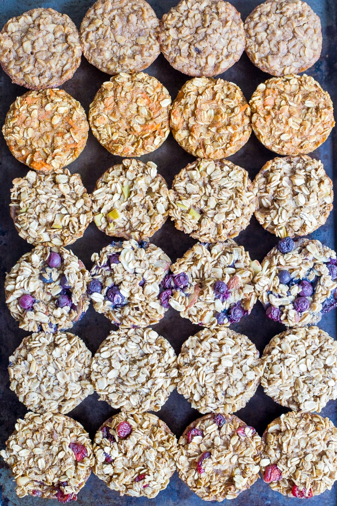 Healthy Baked Oatmeal Breakfast Cups 6 Ways - These are great to make ahead of stash in your fridge or freezer so you always have a healthy and filling breakfast on hand! Freezer friendly, make ahead, vegan, gluten free, refined sugar free.