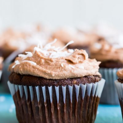 Chocolate Coconut Cupcakes with Chocolate Whipped Cream {Gluten Free, Vegan}