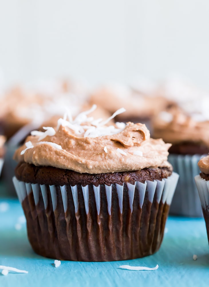 Chocolate Coconut Cupcakes with Chocolate Whipped Cream - A decadent and delicious cupcake that is free of the top 8 allergens!  Perfect for a party or dessert!  Gluten free and vegan!