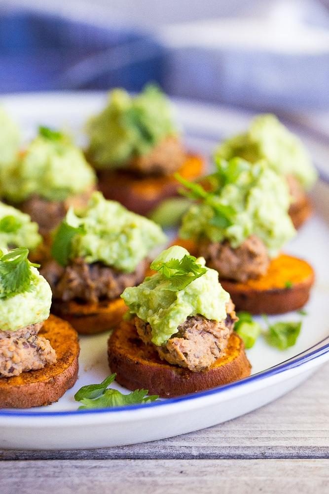 Sweet-Potato-Bites-with-Black-Bean-Hummus-Guacamole-5862