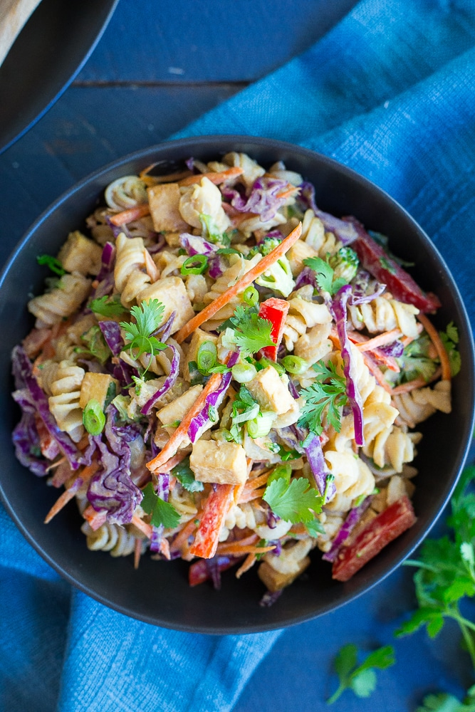 Asian Peanut Pasta Salad- A mayo free pasta salad that is packed with flavor and vegetables!  It's gluten free and vegan and perfect for your next BBQ or a make ahead lunch!  It's also great for a quick and easy vegetarian dinner!