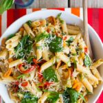 Balsamic-Sweet-Pepper-Pasta-with-Spinach-and-Parmesan-5373-683x1024
