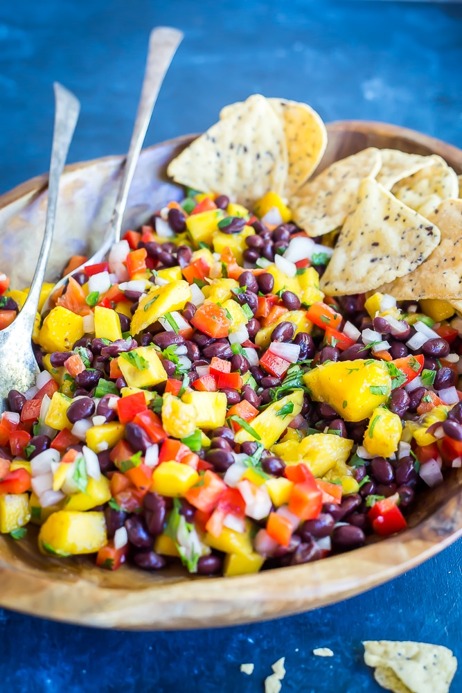 Easy Mango Black Bean Salad- Great for a quick, easy and healthy side dish or condiment!  Healthy/Vegan/Gluten Free/ Summer Side