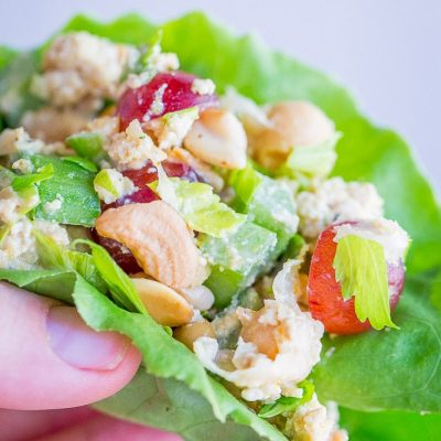 10 Minute Curried Chickpea Tofu Lettuce Wraps