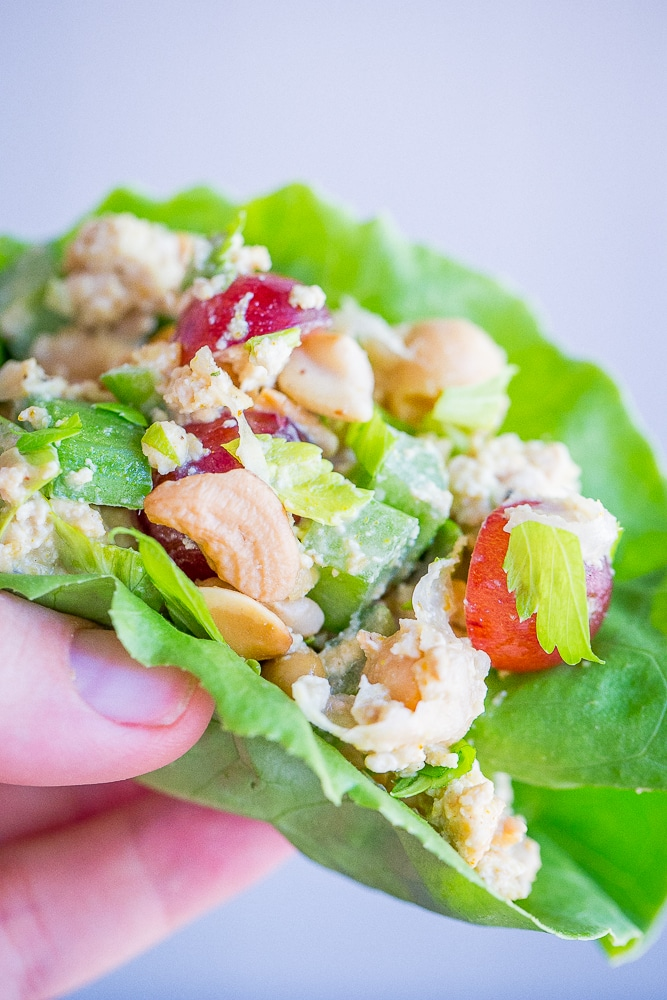 10 Minute Curried Chickpea Tofu Lettuce Wraps - These healthy and delicious lettuce wraps are perfect for a quick and easy no cook meal! Enjoy them for lunch or dinner!  Vegan/Gluten Free