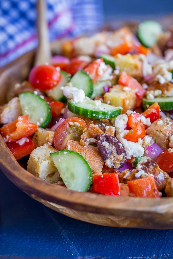 Easy Greek Panzanella Salad Recipe Video