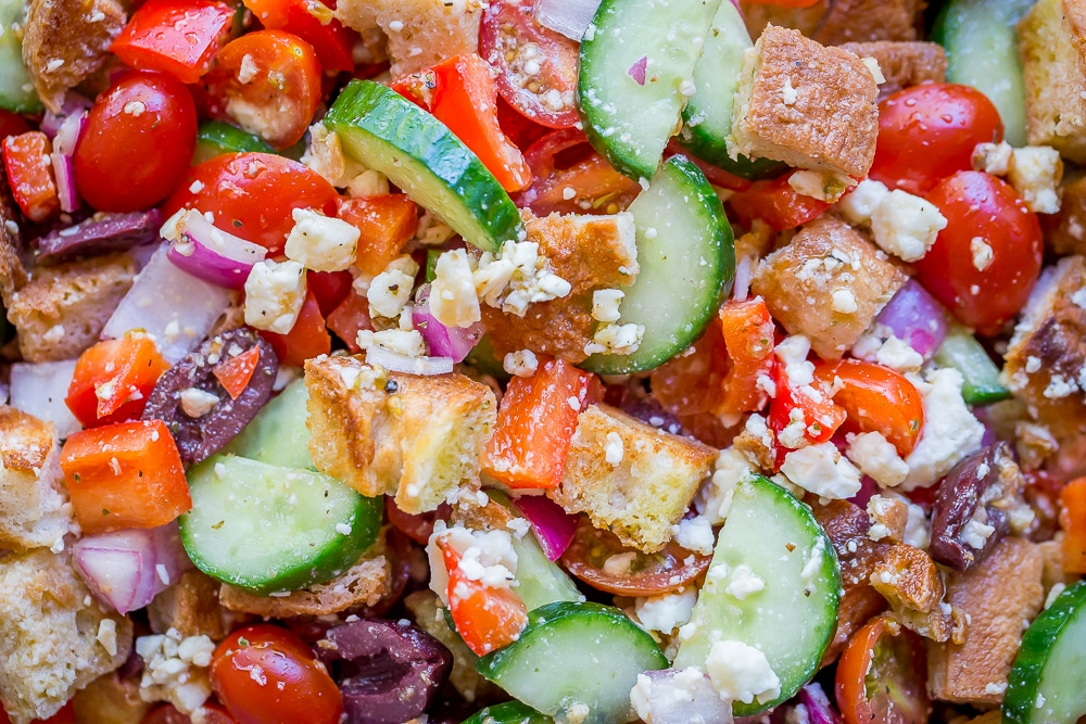 Easy Greek Panzanella Salad- You'll love this veggie packed, super flavorful salad that's filling too!  Vegetarian/Gluten Free/Summer Salad