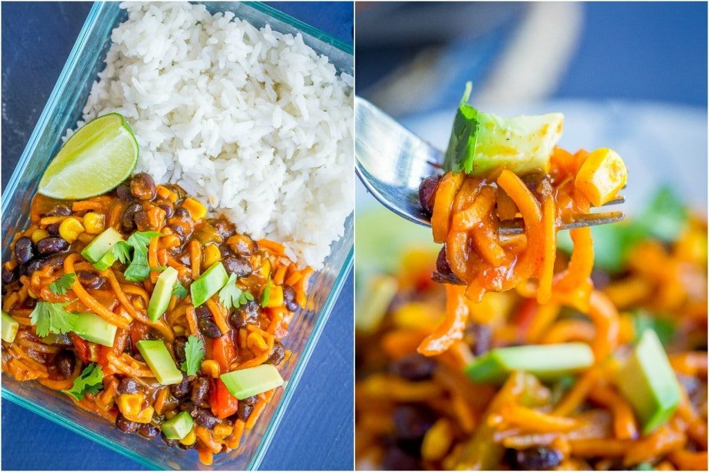 Sweet Potato Noodle Enchilada Bowls - These delicious bowls can be made as a quick and easy dinner or a meal prep lunch!  Vegetarian/Vegan/Gluten Free/Dinner/Meal Prep