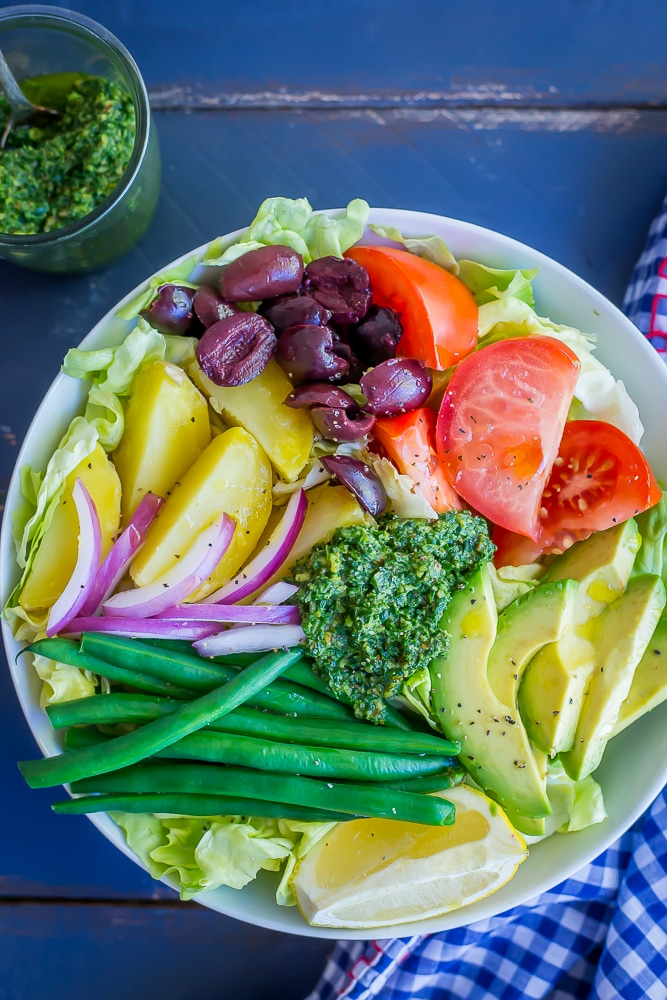 Avocado Nicoise Salad with Pesto - A delicious and refreshing vegan version of the classic nicoise salad!  Filled with tons of veggies making it a healthy lunch or side dish.  Vegan/Gluten Free/Vegetarian