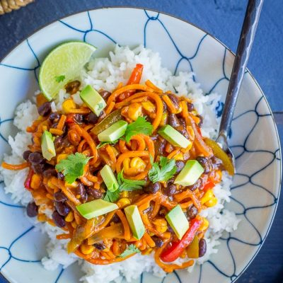 Spiralized Sweet Potato Enchilada Bowls
