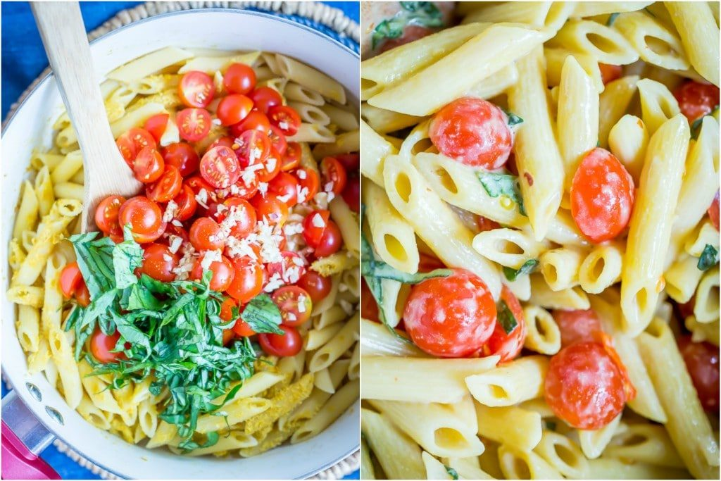 One Pot Creamy Vegan Caprese Pasta- A fresh and delicious summer dinner that's quick and easy to make and only requires one pot.  Vegan/30 Minute Dinner/One Pot Meal