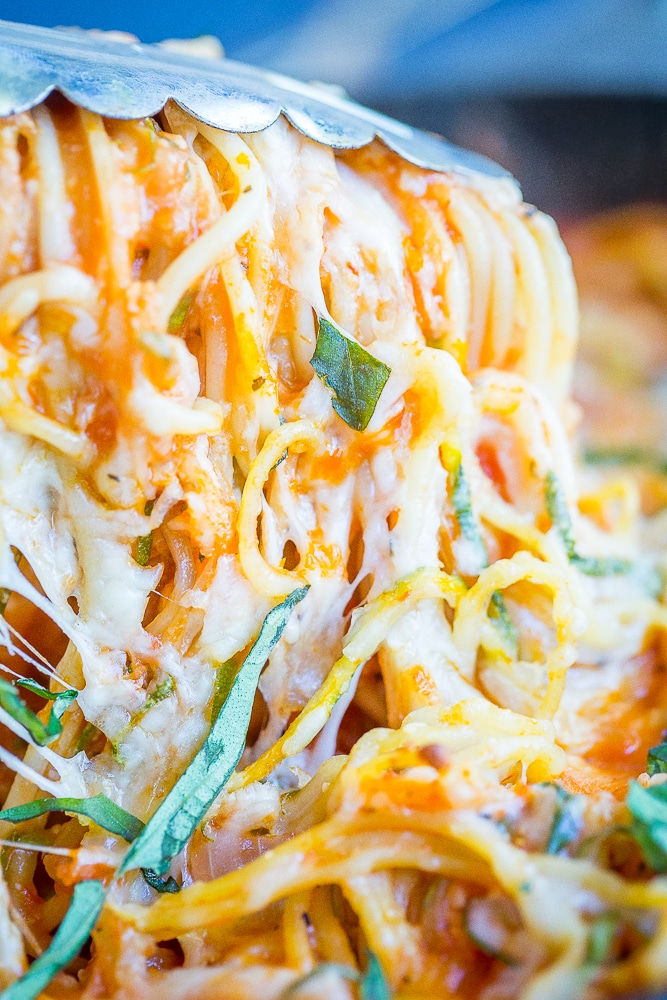 Lower Carb Zucchini Noodle Spaghetti Bake- This delicious pasta bake is packed with tons of zucchini and just small amount of pasta making it a great low carb dinner option.  Vegetarian/ Quick and Easy Dinner/ Gluten Free/ Low Carb Dinner