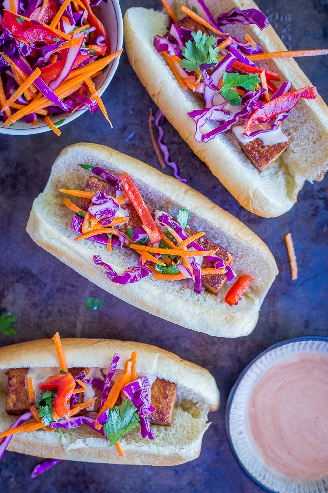 Smoky Homemade Veggie Dogs Main - A delicious and flavorful veggie hotdog alternative.  Perfect for an easy dinner or your next BBQ.  Vegan/Veggie Hotdogs