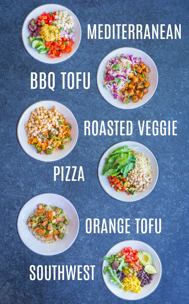 Easy Vegan Quinoa Bowls - 6 Ways - These delicious quinoa bowls are so easy to make and perfect for a make ahead lunch or dinner! There's 6 great flavors so you never get bored! All gluten free too!