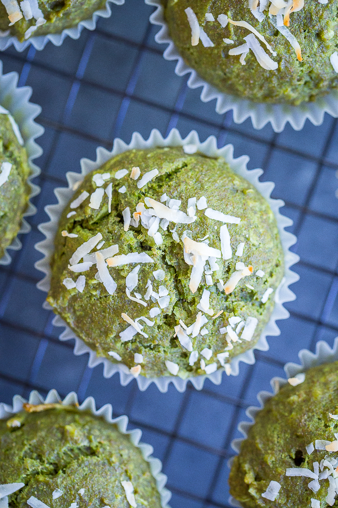 Healthy Coconut Kale Green Muffins {vegan}