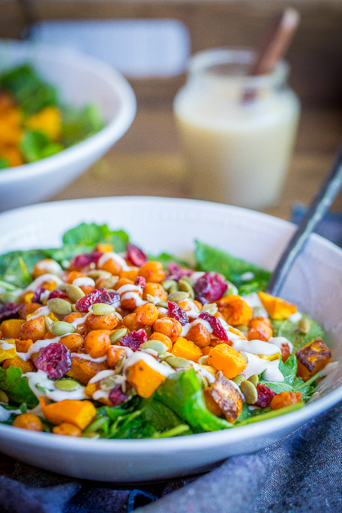This hearty Roasted Butternut Squash & Sweet Chili Chickpea Salad is great for a lunch or dinner!  It's packed with delicious flavors and perfect for fall!  Gluten free/Vegan/Vegetarian/Salad