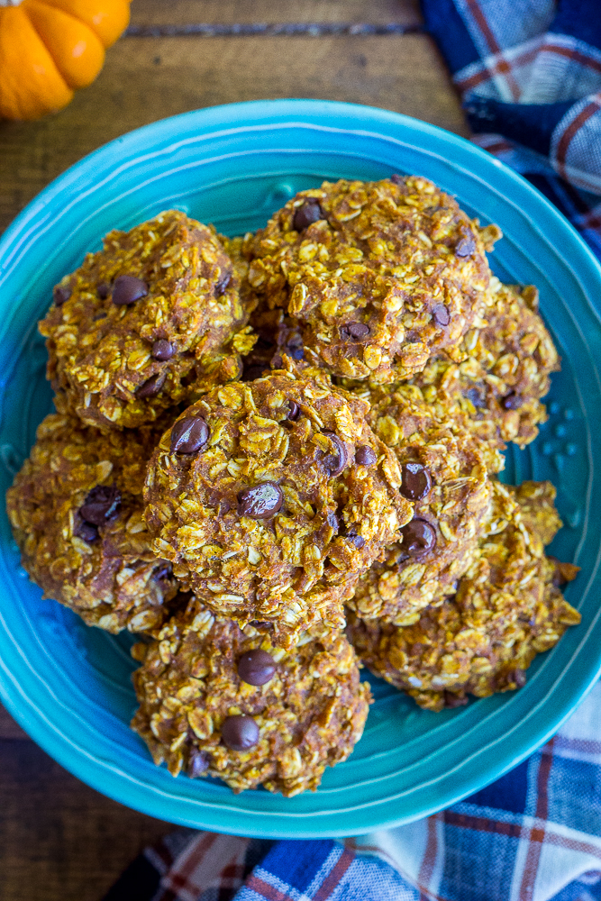 These Healthy Pumpkin Chocolate Chip Oatmeal Cookies are soft, delicious and packed with pumpkin pie flavor! They're great for breakfast or a healthy snack during the day! Gluten Free, Vegan