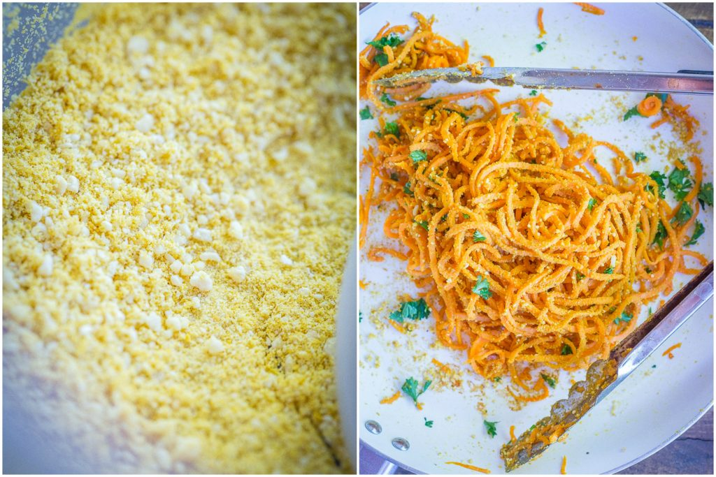 These Garlic Parmesan Sweet Potato Noodles are a fun and delicious side dish or can be eaten for dinner and lunch when you add a little protein! Easy to make, gluten free and vegan!