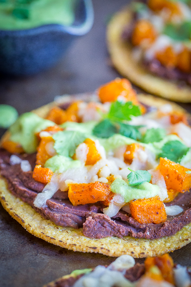 Roasted Butternut Squash Tostadas with Avocado Lime Sauce ...