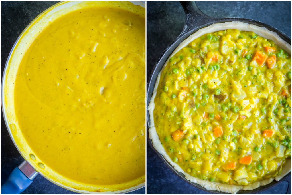 This Curried Vegetable Pot Pie is such a delicious and flavorful vegan comfort food dish! It's rich and decedent but also packed with veggies making it a healthier option! Great for dinner! #vegan #vegetarian #dinner #comfortfood #potpie