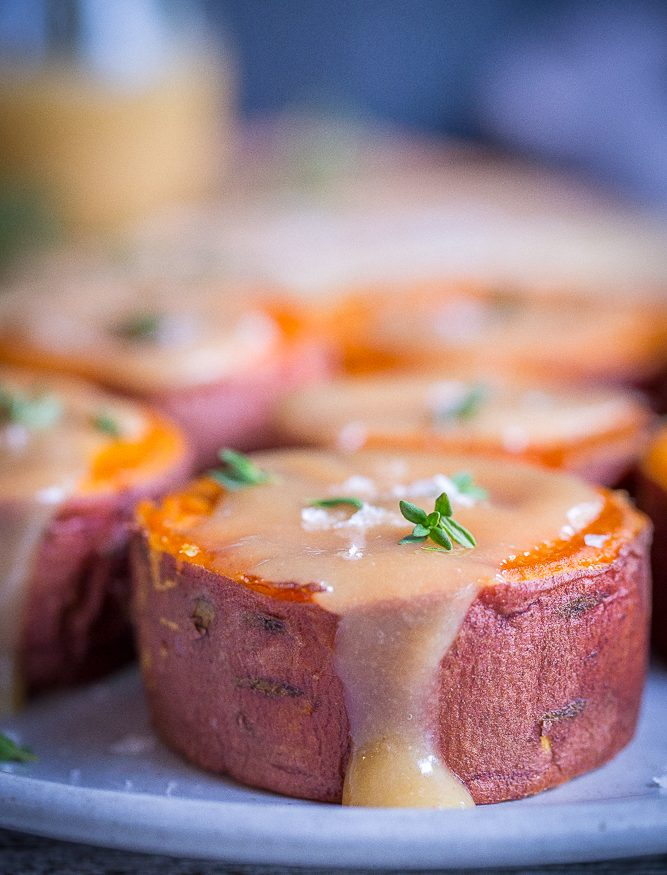 Roasted Sweet Potatoes with Tahini Maple Butter