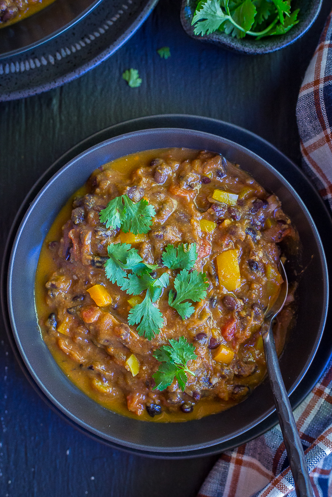 Overview of Smoky Pumpkin Black Bean Chili in a bowl