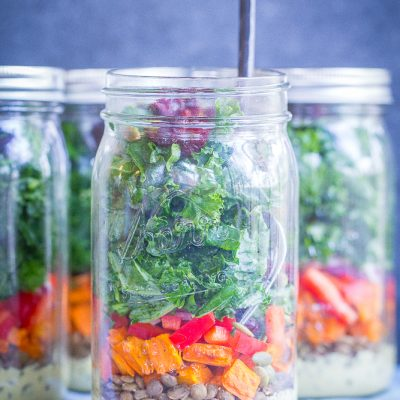 Sweet Potato, Lentil & Kale Meal Prep Salads with Curry Tahini Dressing