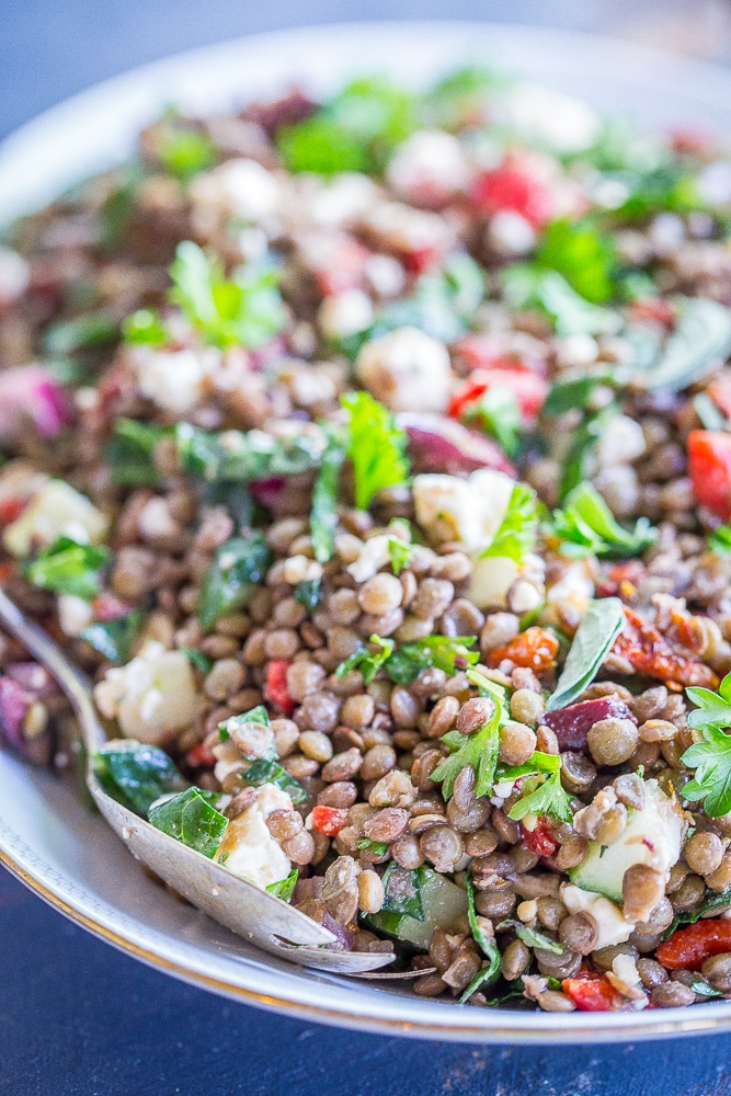 This Mediterranean Lentil Salad is a healthy and filling salad that's so easy to make! It's great for a side dish or lunch! Gluten free and vegetarian!