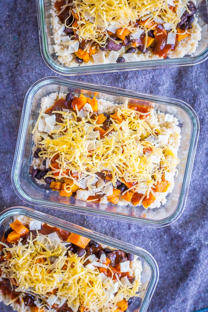 Enchilada Meal Prep Bowls with Butternut Squash and Cauliflower Rice - These delicious and healthy meal prep bowls are also freezer friendly so you can enjoy them whenever you want! They're great for lunch or dinner and easy to make! Gluten free and vegetarian!