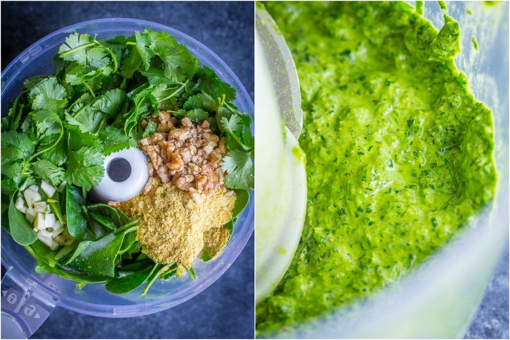 Collage: left photo is the cilantro lime pesto ingredients in a food processor, right side is the finished pesto