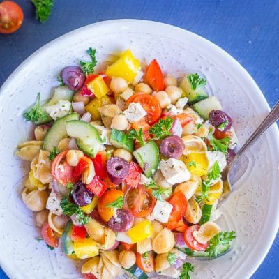 Loaded Greek Chickpea Pasta Salad