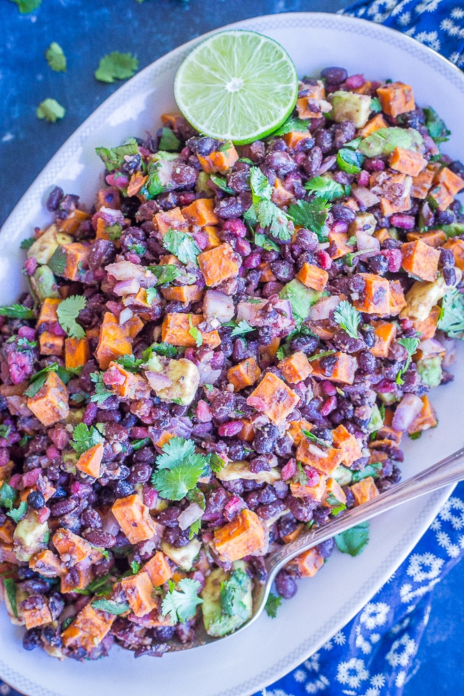 Roasted Sweet Potato Salad With Black Beans Pomegranate Avocado She Likes Food