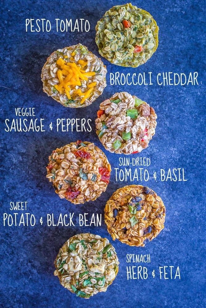 These Make Ahead Savory Baked Oatmeal Cups are perfect if you're looking for a savory vegan breakfast recipe that's easy to make and great for meal prep! There's six different flavors so you'll never get bored! They're also perfect for an afternoon snack or light lunch! Gluten free too!
