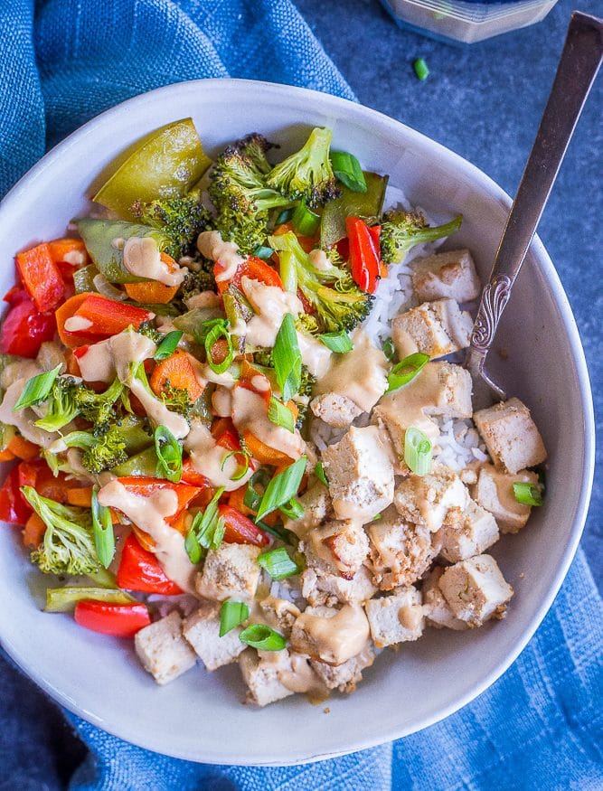 Sheet Pan Tofu and Vegetable Bowls with Ginger Peanut Sauce