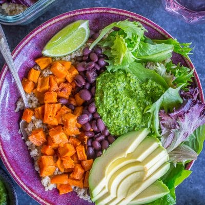 Sweet Potato and Black Bean Meal Prep Bowls with Cilantro Lime Pesto