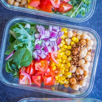 Chickpea and Lentil Taco Salad Meal Prep Bowls