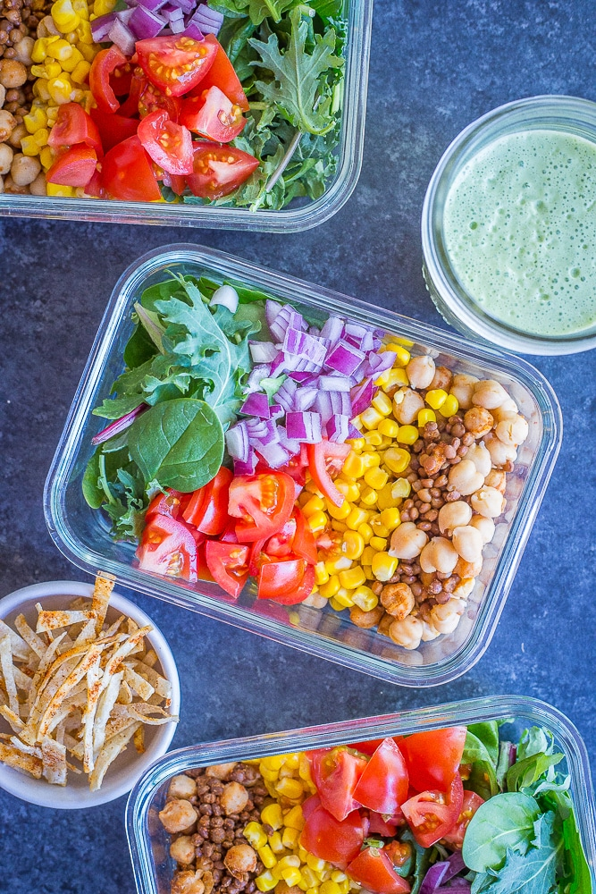 These Chickpea and Lentil Taco Salad Meal Prep Bowls are healthy, easy and delicious! You can make them in under 30 minutes and you will have lunch for 4 days prepped and ready to go! Each bowl has only 2 Freestyle Weight Watchers points! Gluten free, vegetarian and vegan friendly!