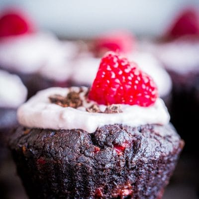 Healthier Chocolate Cupcakes with Raspberries {Gluten Free, Vegan, Refined Sugar Free}