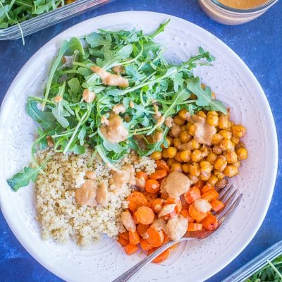 Roasted Carrot and Chickpea Salad with Orange Ginger Cashew Dressing {Meal Prep}