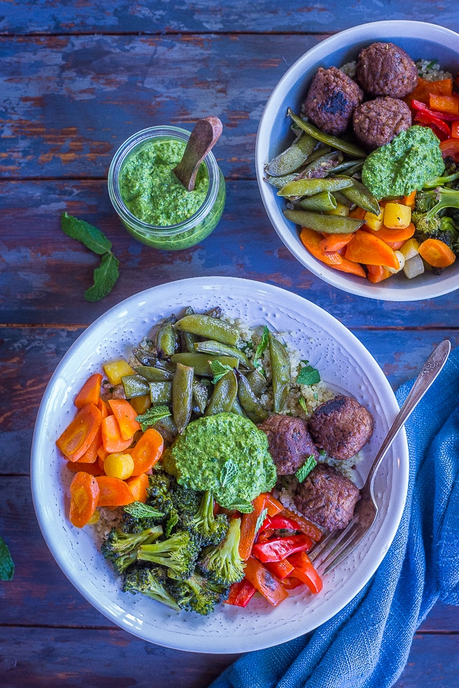 These Spring Vegetable and Meatball Bowls with Pesto are fresh, flavorful and filling! They're perfect for a quick, easy and healthy dinner or a meal prep lunch! They have all the delicious flavors of spring combined with the coziness of winter! A delicious #MeatlessMonday meal that the whole family will love!