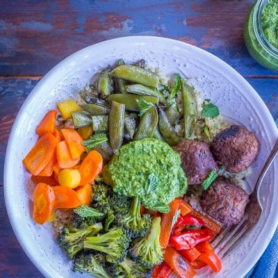 Spring Vegetable and Meatless Meatball Bowls with Pesto