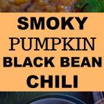 Pinterest long pin for smoky pumpkin black bean chili