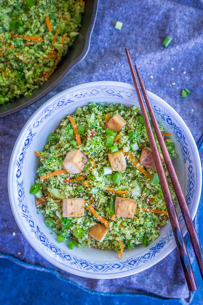 "This Easy Broccoli Fried ""Rice"" comes together in only 30 minutes and is great as a side dish or main meal! Just add a little protein like tofu, tempeh or chickpeas and it's so filling! Vegan and gluten free too!"
