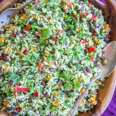 Green Rice with Black Beans and Sweet Potato