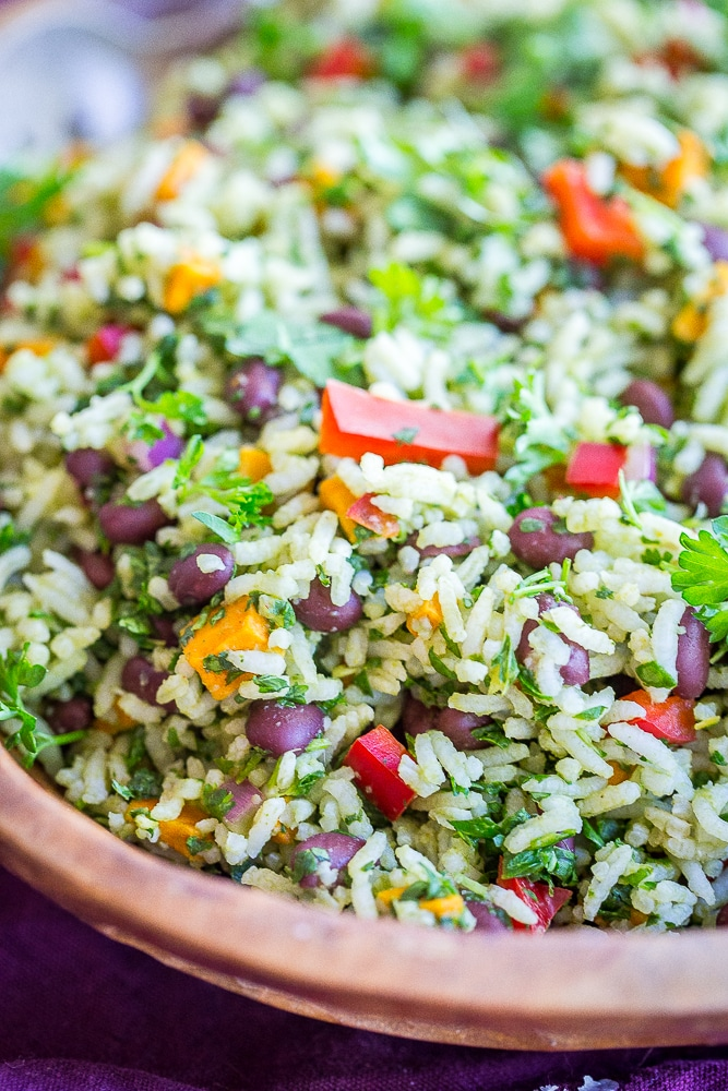 A close up view of Green Rice with Black Beans and Sweet Potato