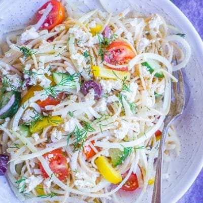 Healthy Greek Pasta Salad with Kohlrabi Noodles